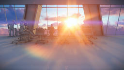 Business team in conference room, 3d clay render, rear view sunset Animation