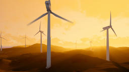 Wind turbine farm over green meadow, rays of light at sunset, dolly shot Animation