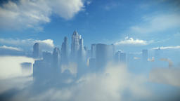 City skyline above clouds, zoom in Animation