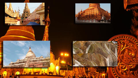 Myanmar - country of Temples - collage of Burmese shrines Footage