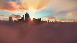 City skyline above clouds, timelapse sunrise 画像