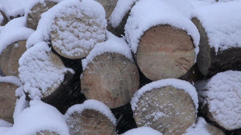 Snow falling on wooden logs Footage