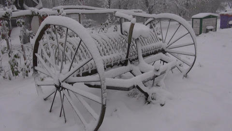 Antique horse rake with wheels in winter Footage