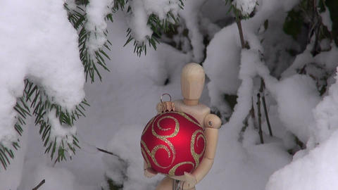 Wooden artist models with Christmas baubles Footage