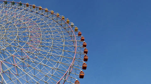 Clear Blue Sky And Ferris Wheel In Osaka Japan Asia Footage