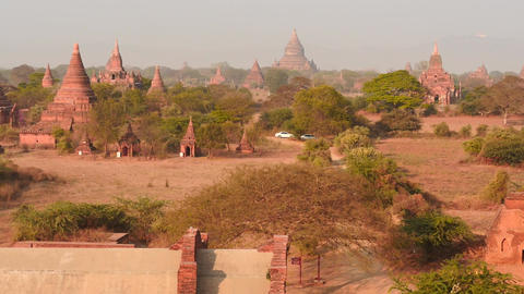 Bagan Pagodas observation dolly shot from top view Footage