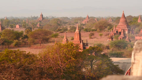 Bagan Pagodas observation dolly shot from top view - long version Live Action