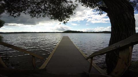 Footbridge into lake, 4K Footage