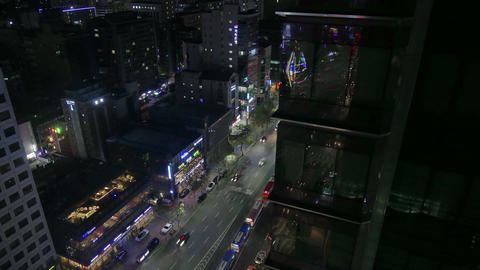 Time-lapse Night Traffic In Gangnam District Seoul South Korea Asia Footage
