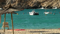 Europe Spain Balearic Ibiza coves and landscapes 104 beach in Cala Vadella Footage