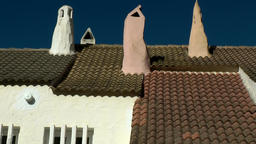 Europe Spain Balearic Ibiza towns and villages 109 rooftops & amazing chimneys Footage