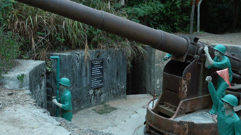Old cannon at historical fortress Footage