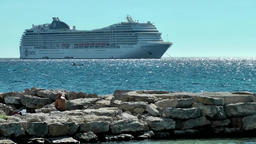 Europe Spain Balearic Ibiza towns and villages 112 big cruise ship at anchor Footage