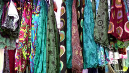 Europe Spain Balearic Ibiza hippy market es canar 121 fabrics and dresses Footage
