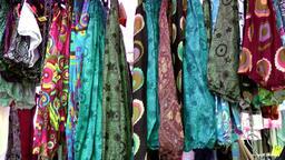 Europe Spain Balearic Ibiza hippy market es canar 121 fabrics and dresses Filmmaterial