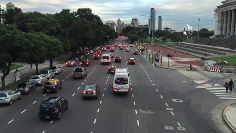 Bridge view of avenue traffic besides Buenos Aires Law school
