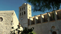 Europe Spain Balearic Ibiza Eivissa city 143 cathedral in the castle Footage