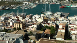 Europe Spain Balearic Ibiza Eivissa city 145 outlook on harbor district Footage