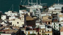 Europe Spain Balearic Ibiza Eivissa city 147 harbor district with church GIF