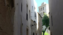 Europe Spain Balearic Ibiza Eivissa city 149 Dalt Vila cathedral tower Footage