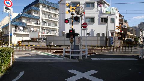 V-formation railway crossing of Seibu Ikebukuro line Stock Video Footage