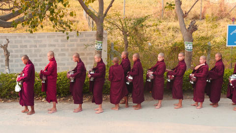Early morning young Monks ceremony in Myanmar Footage