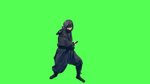 忍者刀を抜き身構える忍び ライブ動画