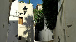 Europe Spain Balearic Ibiza Eivissa city 155 shadows in an old alley Footage