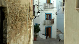Europe Spain Balearic Ibiza Eivissa city 163 small path between old houses Filmmaterial