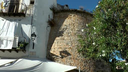 Europe Spain Balearic Ibiza Eivissa city 167 old facades and tower Footage