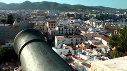 Europe Spain Balearic Ibiza Eivissa city 183 harbor district behind a cannon Footage