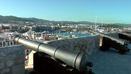 Europe Spain Balearic Ibiza Eivissa city 185 cannons from the back of city wall Footage