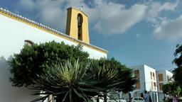 Europe Spain Balearic Ibiza village santa gertrudis 201 church and clouds Footage