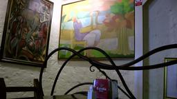 Europe Spain Balearic Ibiza village santa gertrudis 213 arts in a restaurant Footage