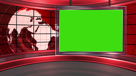 HD News-20 TV Virtual Studio Green Screen Background Red with Globe & Monitor Animation