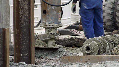 Industrial Earth Drill On Construction Site Footage