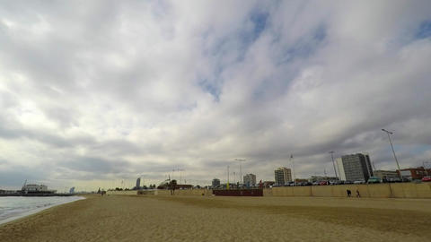 Dense White Clouds Over The Beach Footage