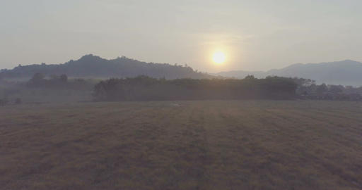 Sunrise over the countryside. Aerial Footage