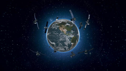 Looped Animation of Earth Satellites Front View 4K Animation