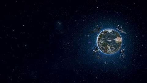 Looped Animation of Earth Satellites Side View 4K Animation