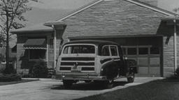4K USA 1950s: Tracking Auto on Rural Road, Pulls in Driveway Footage