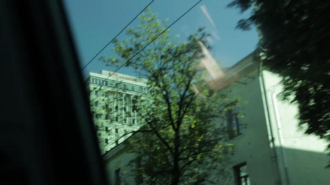 Buildings Through Car Window Footage