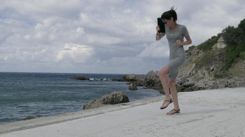 Happy Young Woman Dancing Outdoor Footage