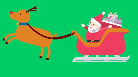 聖誕老公公與麋鹿 CG動画素材