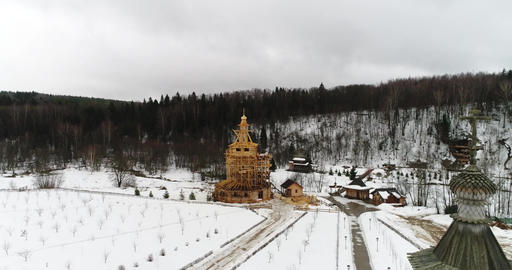 church in winter and flying Footage
