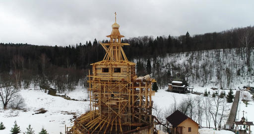 Departure from the wooden church under construction Footage
