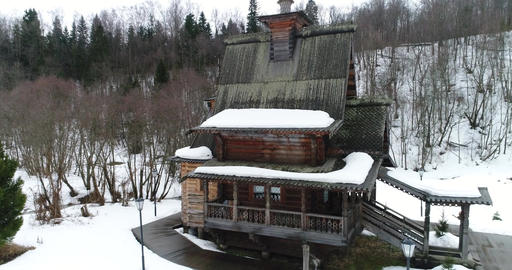 Aerial Old Wooden Church