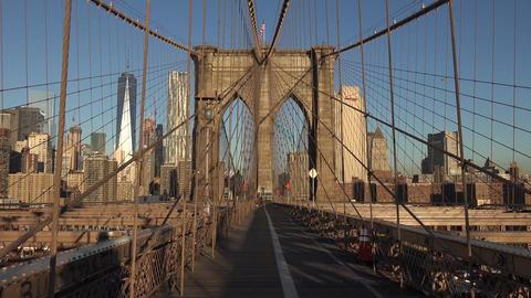 Manhattan Bridge and Brooklyn Bridge in New York City, USA. Beautiful NYC Timela GIF