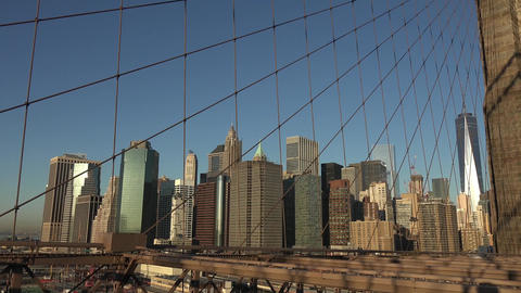 Manhattan Bridge and Brooklyn Bridge in New York City, USA. Beautiful NYC Timela Footage