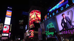 New York Times Square New York with billboards neon lights and Illuminated signs